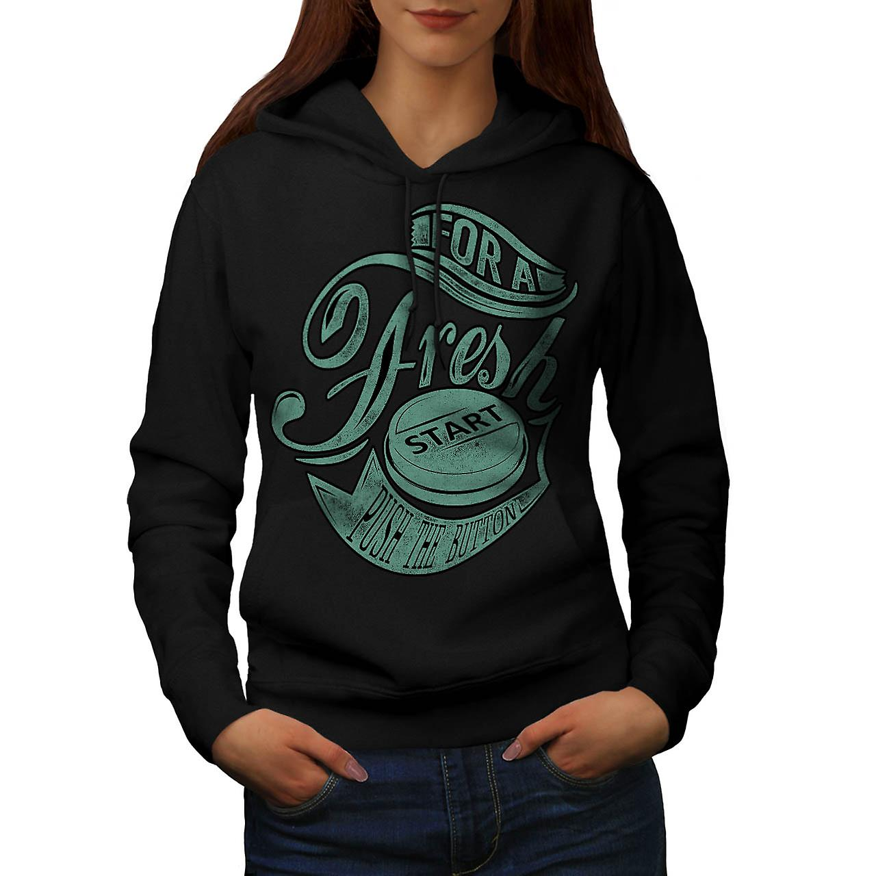 Fresh Start Button Gaming Women Black Hoodie | Wellcoda
