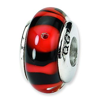 Ster. Silver Reflections Red Black Murano Glass Bead Charm