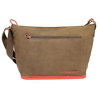 Eco Friendly Taupe and Orange Shoulder Bag by Lexon
