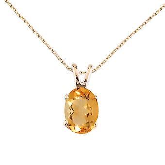 14k Yellow Gold Oval Large 6x8 mm Citrine Pendant with 18