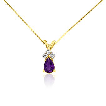 14k Yellow Gold Amethyst Pear Pendant with Diamonds and 18