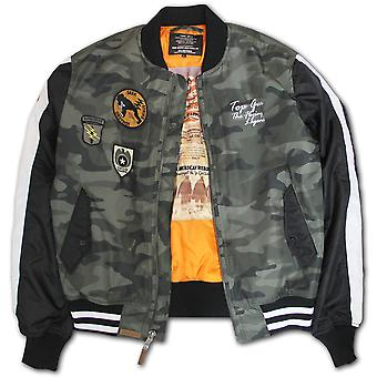 Top Gun Camouflage Bomber Jacke Olive