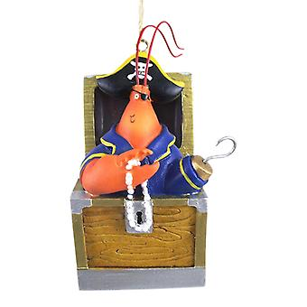 Coastal Lobster Pirate Holiday Christmas Ornament