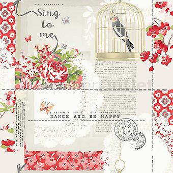 Birds Wallpaper Butterflies Floral Sing To Me Red White Silver Gold Arthouse