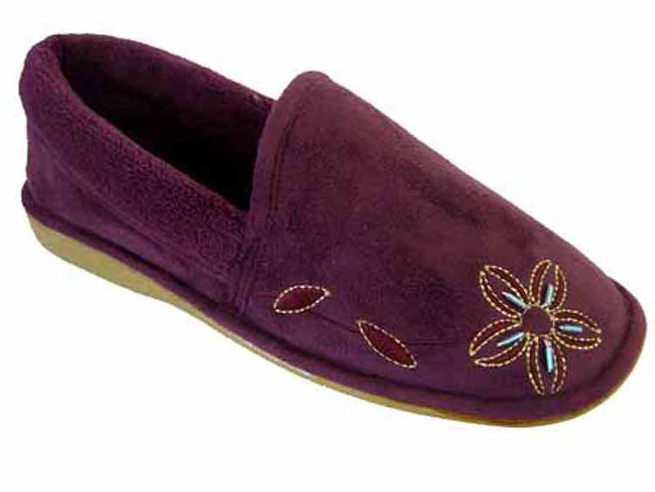Womens Top 3 Closed Floral Slippers Coolers Embroidered UK Plum Low dHxpdqT