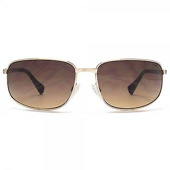 SUUNA Baja Rectangle Wrap Sunglasses In Brushed Pale Gold