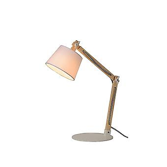 Lucide OLLY Wooden Tall Desk Lamp With White Base And Shade