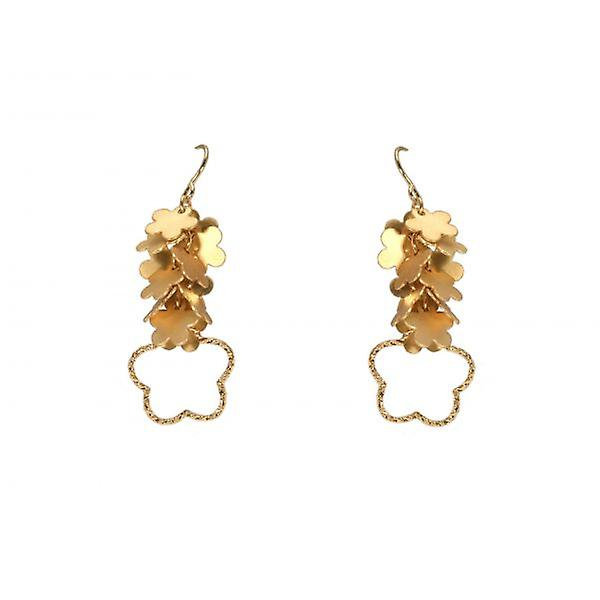 W.A.T Gold Style Flower Cluster Shaped Fashion Earrings