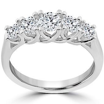 1 ct 5 - pietra laureato vero diamante matrimonio anello di fidanzamento 14k oro bianco