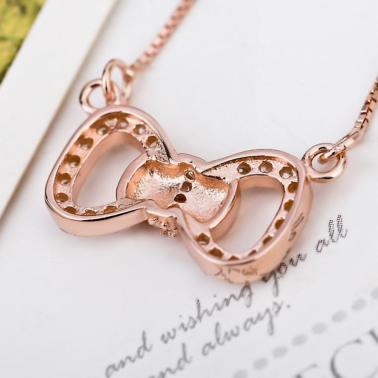 Affici Sterling Silver Necklace18ct Rose Gold Plated Diamond CZ Pave Bow