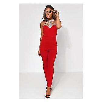 De Fashion Bijbel Bloom rood verfraaid Backless Jumpsuit