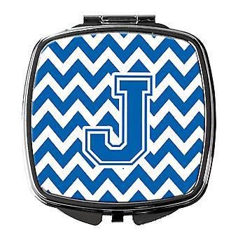 Carolines Treasures  CJ1056-JSCM Letter J Chevron Blue and White Compact Mirror