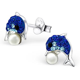 Dolphin - 925 Sterling Silver Crystal Ear Studs