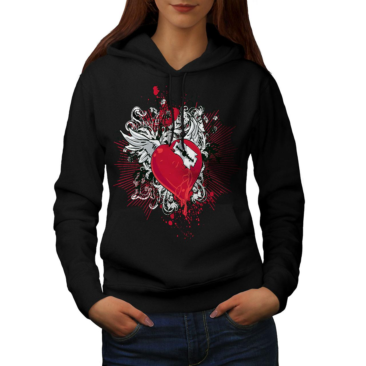 Broken Heart Cool Fashion Women Black Hoodie | Wellcoda