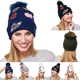 Ladies Hat Beanie Bobble Hat Beanie warm Bobble embroidery patches