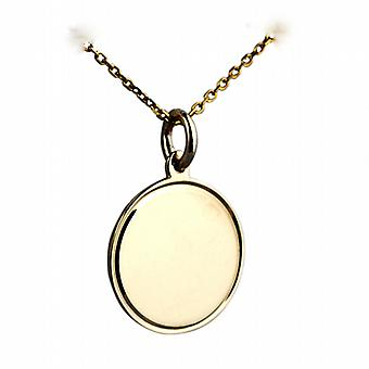 9ct Gold 17mm round engine turned line border Disc on a cable Chain 20 inches