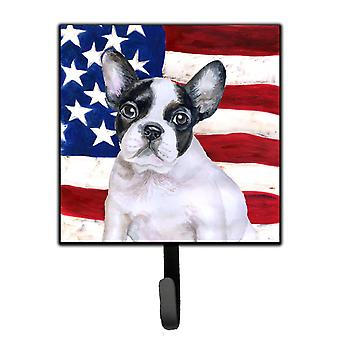 French Bulldog Black White Patriotic Leash or Key Holder