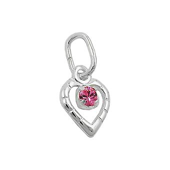 Glass-stone pink silver 925 pendant