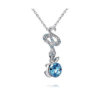 Eden Serpent pendant adorned with Blue Swarovski crystals and Rhodium Plaqlé