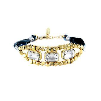 Ettika - Bracelet Crystal white and cotton braided ribbons blue