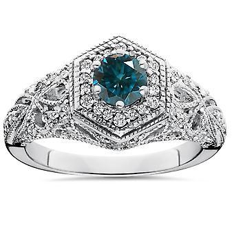 .81CT Blue Diamond Halo Vintage Engagement Ring 14K White Gold