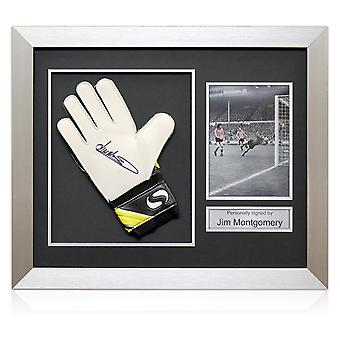 Framed Jim Montgomery Signed Goalkeeper's Glove