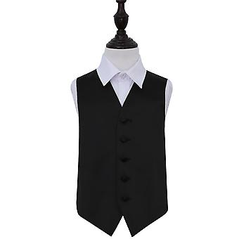 Black Plain Satin Wedding Waistcoat for Boys