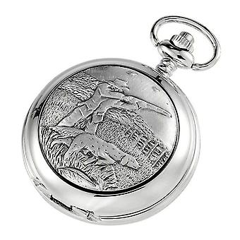 Woodford Hunter and Dog Skeleton Chain Pocket Watch - Silver