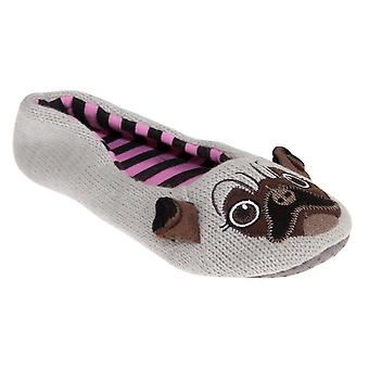 Slumberzzz Womens/Ladies Pug Ballerina Slippers