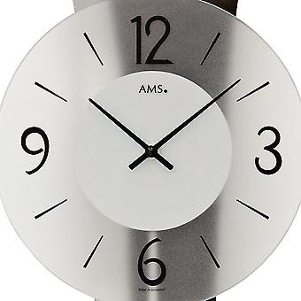 AMS 7425/1 wall clock pendulum wooden rear wall mineral glass crystal