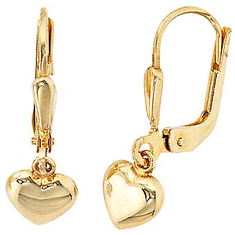 Earrings boutons, 333 / - yellow gold, size 20.8 mm x 6.5 mm, children's jewellery