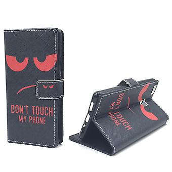 Dont touch my phone mobile case Huawei P9 Lite tank protection glass flap envelope Wallet case