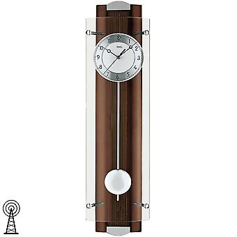 Radio controlled wall clock with pendulum painted rear panel walnut mineral glass