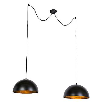 QAZQA Modern Round Pendant Lamp 2 Black and Gold 50cm - Magna