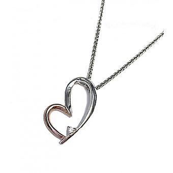 Cavendish French Silver and Rose Gold Happy Heart Pendant without Chain
