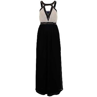 Ladies Padded Cut Out V Neck Chiffon Lined Beaded Women's Long Maxi Dress