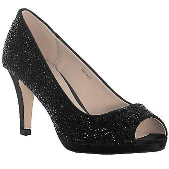 Melody Ladies Peep Toe Diamante Small Heel Slip On Court Shoes Heels