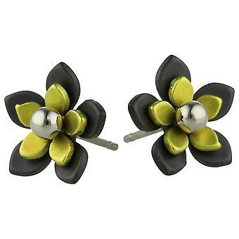Ti2 Titanium Black zurück fünf Blütenblatt Blume Ohrstecker - Zitronengelb