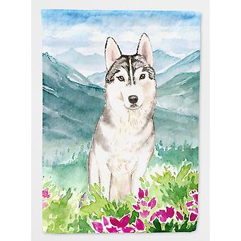 Mountian Flowers Siberian Husky Flag Canvas House Size