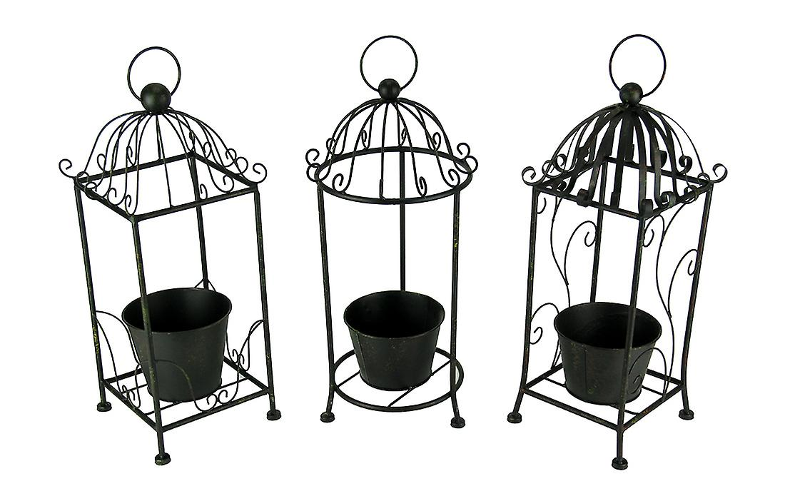 Vintage Scroll Tall Metal Candle Cage Planter Set of 3
