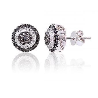 Argent Sterling Star anneaux de mariage autour de boucle d'oreille sertie de diamants noir et blanc
