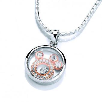 Cavendish francese piccole lune ciondolo in argento con catena di 16-18