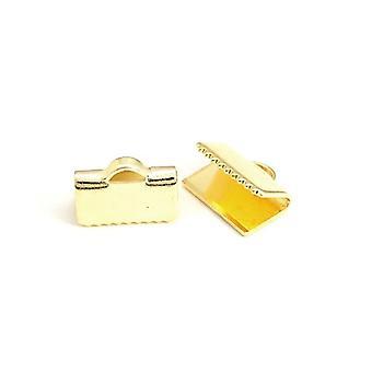 Pakke 30 x Golden messing rektangel båndet ender 7 x 10mm HA12775