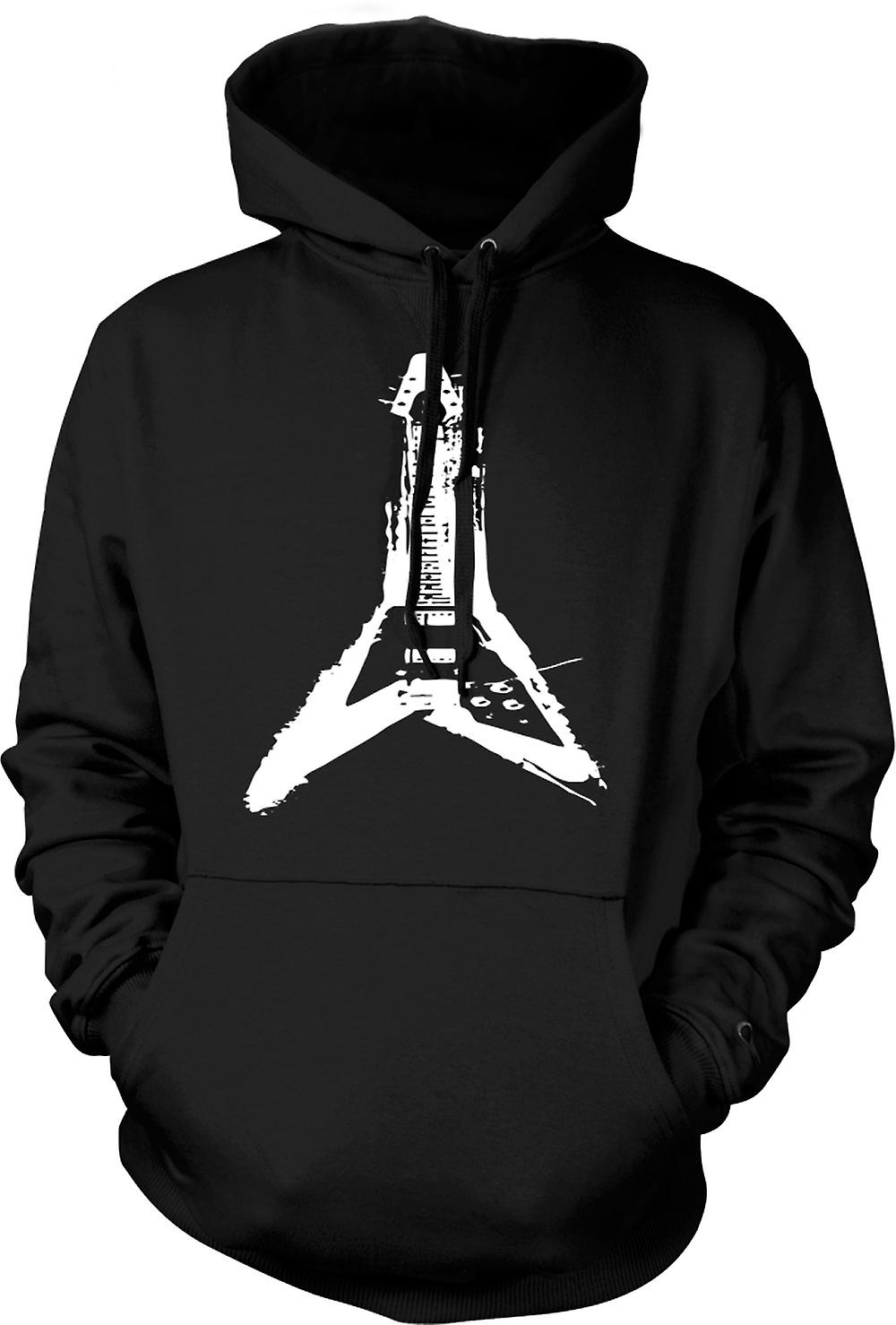 Mens Hoodie - Gibson Flying V Guitar - Rock Metal