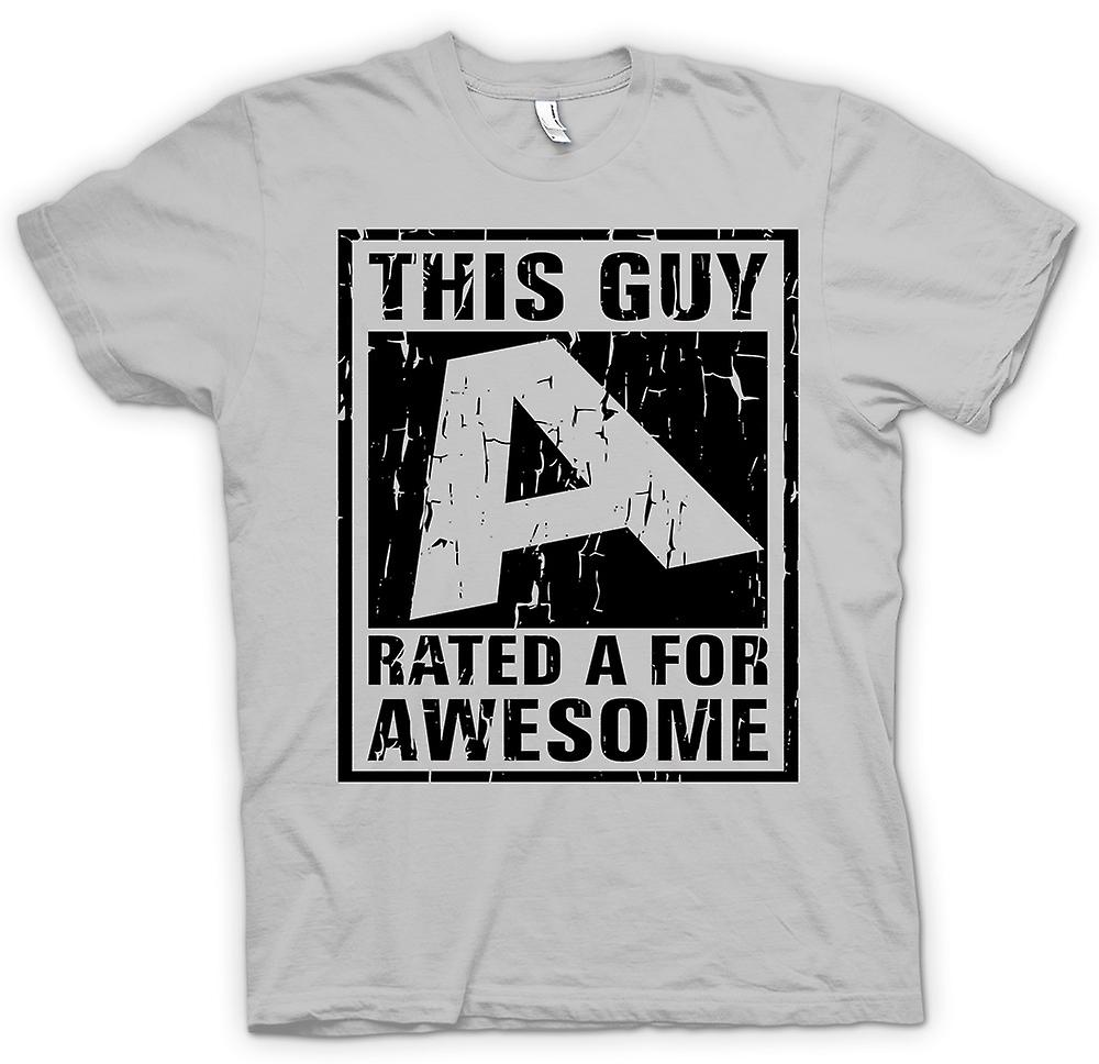 Mens T-shirt - This Guy Rated A For Awesome