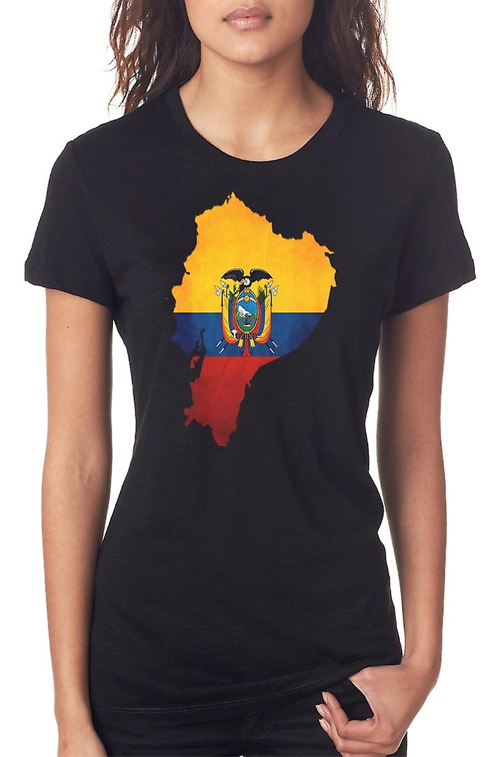 Ecuador_ Ecuadorian Flag Map Ladies T Shirt