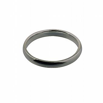 Platinum 3mm plain Court shaped Wedding Ring Size Z