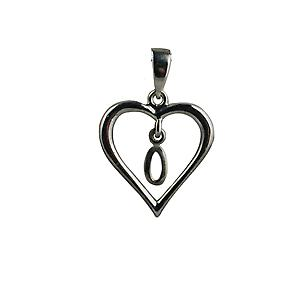 sterling Silver heart with a hanging Initial O