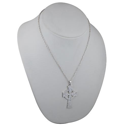 Silver 50x36mm hand engraved Celtic Cross with bail on a cable Chain 20 inches