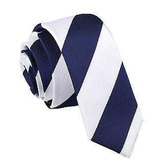 Marine & weiß gestreiften schmaler Krawatte